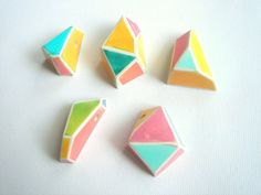 Neon Geometric Faceted Clay Pendans Geometric by LiKeBeads8, $20.00