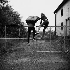 i just have the greatest scene of them climbing a fence to escape some cop only a pant leg gets stuck and rather than be caught just strip.