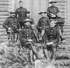 June 1900 - Photograph of Dawson NWMP Officers. Right side: Insp. White Tractor, Police, Canadian Soldiers, Fur Trade, Canadian History, O Canada, American Frontier, America And Canada, Picts