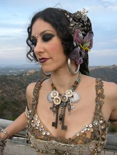 I know this is a belly dance costume but it's very steampunk-ish!
