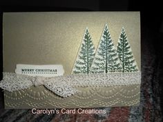 Carolyn's Card Creations: Brushed Gold Festival of Trees Card