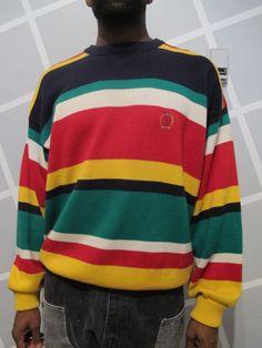 Tommy Hilfiger Stripe Sweater 1990s by Kokorokoko on Etsy, $42.00 /// www.art-by-ken.com