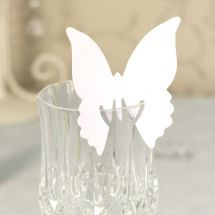 White Butterfly Place Cards designed to elegantly on the top of your glass