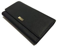 Kate Spade Newbury Lane Pheonix Clutch Wallet Trifold Black Saffiano WLRU1933