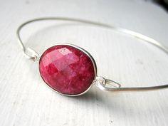 Ruby Stacking Bangle Bracelet - Sterling Silver  - Bezel Set - July Birthstone. $33.00, via Etsy.