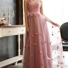 long bridesmaid dress,hot pink bridesmaid dresses,v-neck bridesmaid dress,tulle bridesmaid dress,pretty bridesmaid dresspd2101148 - Thumbnail 3