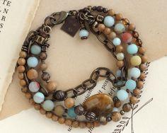 Fossil coral bracelet. Amazonite bracelet. Chunky stone bracelet. Multistrand bracelet. Boho chic bracelet. Aqua bracelet. Brown bracelet