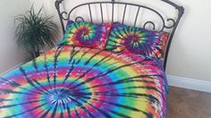 Queen tie dye duvet cover and 2 pillowcases. by LoveTieDyebyIsobel