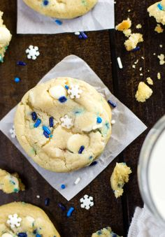 blizzard cookies - cream cheese and sprinkles and butter-3 Gelato, Cobbler, Christmas Cookies, Cake Cookies, Scones, Brownies, Xmas Cookies, Christmas Crack, Sourdough Biscuits