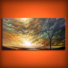 art painting abstract landscape tree painting original by mattsart, $369.00
