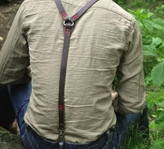 Missing the feel of a pack on your shoulders? Put on these hand-cut suspenders for a rugged-trail state of mind even around town. Adjustable holes are numbered