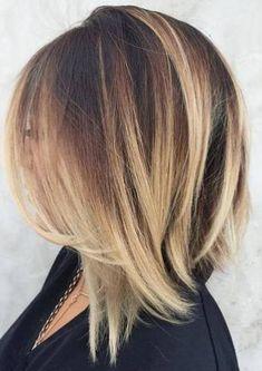60 Inspiring Long Bob Hairstyles and Haircuts angled+dark+brown+lob+with+blonde+balayage Long Bob Haircuts, Long Bob Hairstyles, Hairstyles 2016, Wedding Hairstyles, Medium Haircuts, Pixie Haircuts, Braided Hairstyles, Modern Hairstyles, Updo Hairstyle