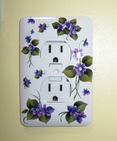 Purple violets steel single outlet cover by MoanasUniqueDesigns,