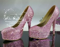 New Red Wedding Shoes Handmade Sparkly High by KissCrystalShoes