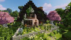 Minecraft Garden, Minecraft House Plans, Minecraft House Tutorials, Cute Minecraft Houses, Minecraft House Designs, Amazing Minecraft, Minecraft Tutorial, Minecraft Blueprints, Minecraft Crafts