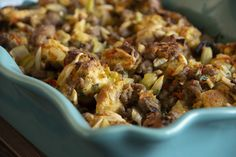 Savory Sausage Stuffing – Rhodes Bake-N-Serv Tired of the same old stuffing? Try this delicious version for your holiday get-togethers. Sausage Stuffing, Stuffing Recipes, Casserole Recipes, Cornbread Casserole, Thanksgiving Gravy, Thanksgiving Recipes, Holiday Recipes, Thanksgiving Traditions, Fall Recipes