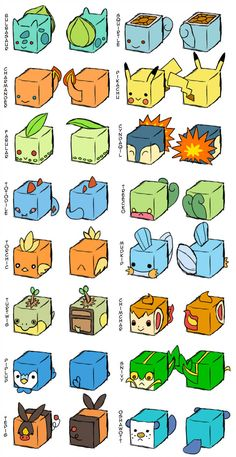 Pokemon Cubes +Concepts+ by CometTheMicroraptor on DeviantArt - Origami Diy Origami, Origami Ball, Origami Design, Oragami, Paper Toy Pokemon, Pokemon Craft, Pokemon Diys, Pokemon Birthday, Pokemon Party