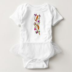Bird on Cherry Blossom Low Polygon Baby Bodysuit - spring gifts beautiful diy spring time new year