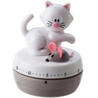 White Cat & Mouse Gray Kitchen Timer