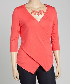 Look at this #zulilyfind! Dark Coral Asymmetrical Surplice Top & Necklace - Plus #zulilyfinds