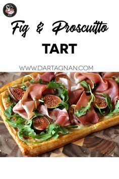 This beautiful fig and prosciutto tart recipe is easy to make. You may swap figs with ripe stone fruits. Serve at room temperature for a party, picnic, or snack. Tart Recipes, Quick Recipes, Brunch Recipes, Gourmet Recipes, Appetizer Recipes, Appetizers, Healthy Recipes, Fig Recipes, Appetizer Ideas