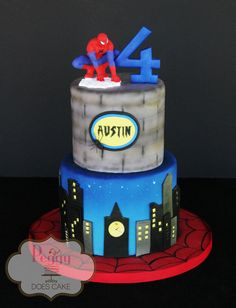 Fondant spiderman cake