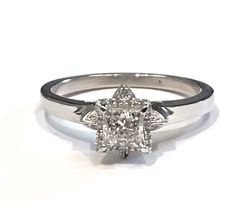Custom Made Pave Diamond Flower Engagement Ring with a Princess Cut Diamond in the centre Custom Made Engagement Rings, Custom Jewelry Design, Diamond Flower, Princess Cut Diamonds, Centre, Fine Jewelry, Jewels, Jewerly, Custom Engagement Rings