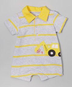 Look at this #zulilyfind! Vitamins Baby Yellow Stripe Tow Truck Collar Romper - Infant by Vitamins Baby #zulilyfinds