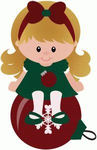 Silhouette Design Store - View Design #49049: elf girl sitting on christmas ornament