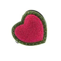 7debbcdc1 Bolsa preta no formato de coração acolchoado com franjas, bordada à mão em  pedrarias e