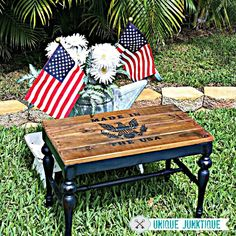 Patriotic Upcycled Vintage Bench with a Pallet seat, just in time for the Fourth!