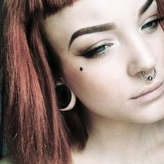 DonWood tunnels in ears, beaty and pierced girl with red hair. Wooden Plugs, Girls With Red Hair, Septum Ring, Ears, Big, People, Jewelry, Jewlery, Bijoux