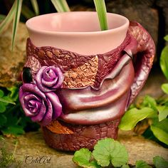 Tea mug with roses....polymer clay...