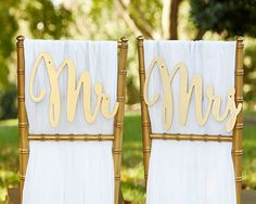Mr & Mrs Chair Sign Gold Wedding - Mr and Mrs Wedding Chair Backer Sign Gold Wedding Decor Silver Chair Sign