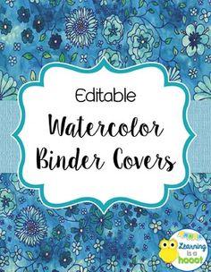 Editable Binder Covers (Floral Watercolor) - $2.75