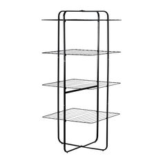 IKEA - MULIG, Drying rack, 4 tiers, black , Suitable for both indoor and outdoor use.You can fold the clothes dryer in half to stand against the wall if you have less laundry to dry and want to save space. Folds flat for easy storage.Adjustable feet provides stability on uneven floors.