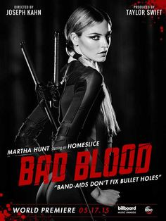 Taylor Swift's Bad Blood Music Video featuring Martha Hunt .