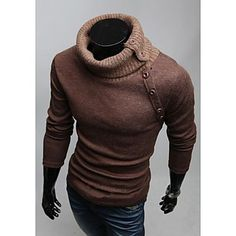 Men 's High Collar Cultivate One's Morality Leisure Solid Color Sweater – USD $ 18.99