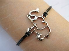 Bracelet-elephant bracelet,elephant pendant,real leather bracelet-Z471 on Etsy, $1.99