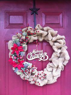 My Burlap Christmas wreath :)