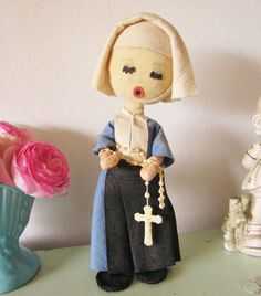 Vintage Nun Doll Cloth Doll Pose Doll by ShabbyVintageHome on Etsy, $24.00