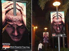 Ibuprofen splitting headache guerrilla marketing ad