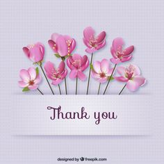 Thank you card with flowers Free Vector