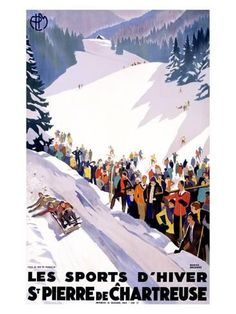 Giclee Print: Chartreuse Resort Snow Tobaggan by Roger Broders : 24x18in