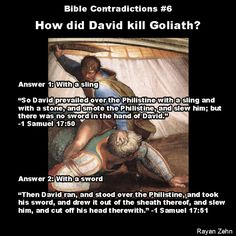 No you fricking idiot. Daniel hit Goliath in the head with the stone, which made Goliath pass out (smote him to the ground ya know). Daniel then ran up to Goliath on the ground, grabbed goliaths sword, and cut off goliaths head with goliath's sword.