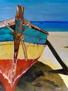acrylic on panel - Painting Subjects Acrilic Paintings, Acrylic Painting Canvas, Acrylic Art, Canvas Art, Art And Illustration, Sailboat Painting, Boat Art, Tropical Art, Coastal Art
