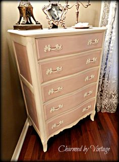 Vintage French Pink and White Dresser. $425.00, via Etsy.