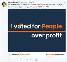 Niki Ashton consistently reaches out to her supporter base to encourage votes and increase interest in the election. It also reinforces her slogan and communicates her mission.