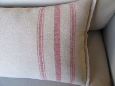 Red stripes grain sack 11x16 accent pillow