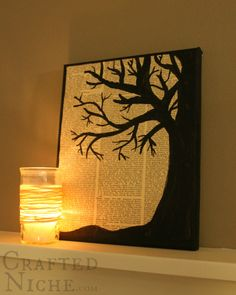 tree silhouette canvas tutorial - I don't know why but I love tree branches.
